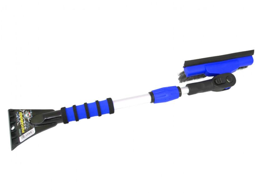 Стъргалка за лед с телескопична дръжка и движеща се на 90° четка за сняг Petex 66 см / 89 см  синя 6